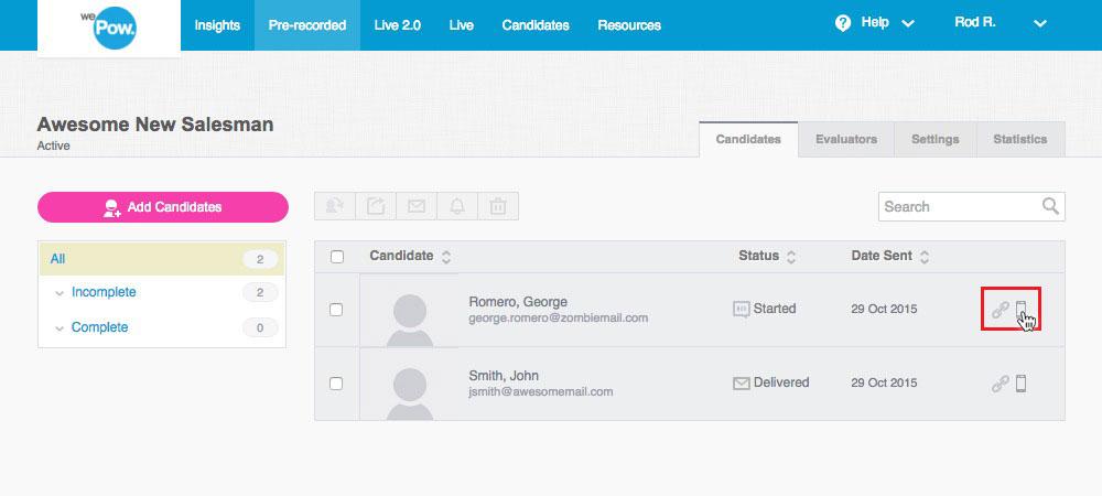 How to invite candidates wepow help center sms reminder stopboris Choice Image