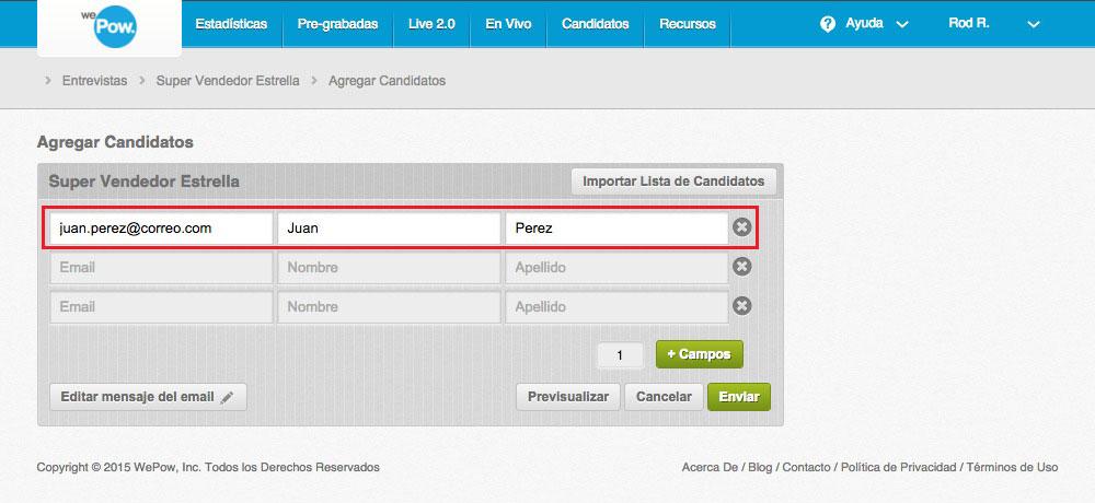 Input candidate info
