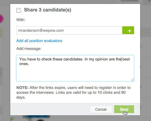 Share Candidate Window